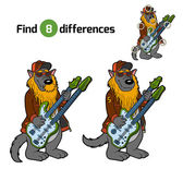 Find differences, game for children (wolf and two-neck guitar)