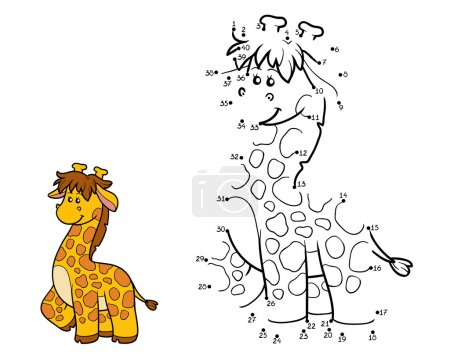 Illustration pour Jeu de chiffres, jeu éducatif pour les enfants (girafe ) - image libre de droit