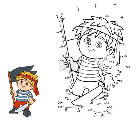 Illustration pour Jeu de chiffres, jeu d'éducation pour les enfants (garçon pirate ) - image libre de droit