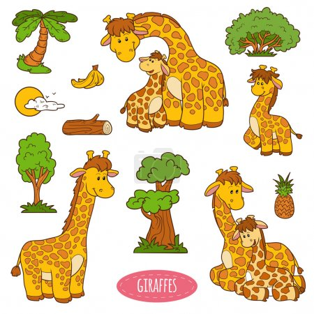 Set of cute animals and objects, vector stickers of giraffe