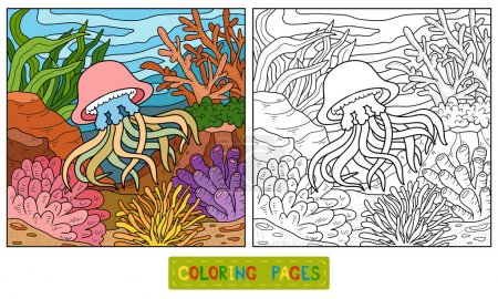 Illustration for Coloring book for children (jellyfish and background) - Royalty Free Image