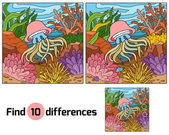 Find differences game for children (jellyfish and background)