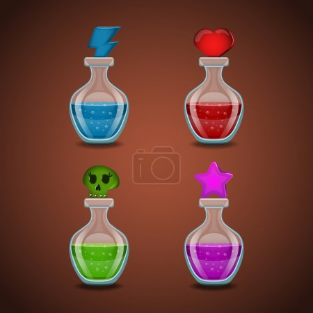 Set bottles with different potions