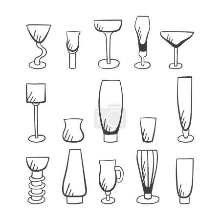 Set of doodle vector stemware-3