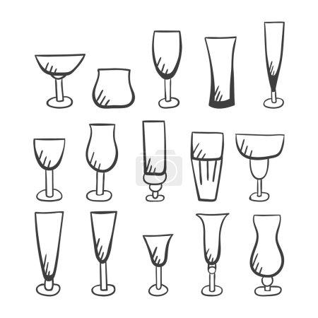 Set of doodle vector stemware-2