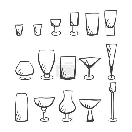 Set of doodle vector stemware-4