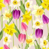 Vintage tulip and daffodil seamless