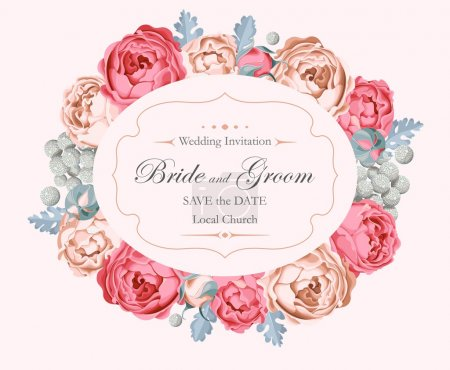 Illustration for Vector vintage wedding invitation decorated with peony roses - Royalty Free Image