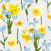 Beautiful forget me not flowers and daffodil vector seamless background