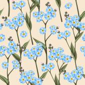 Vintage forget me not flowers vector seamless background