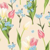 Beautiful forget me not flowers and tulip vector seamless background