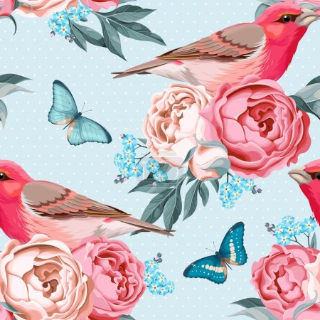 Birds and flowers seamless