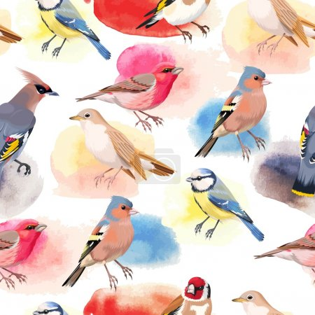 Illustration for Vintage colorful beautiful songbirds vector seamless background - Royalty Free Image