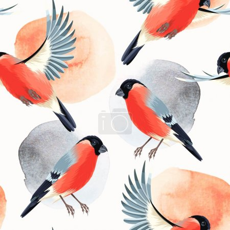 Flying and sitting bullfinches seamless