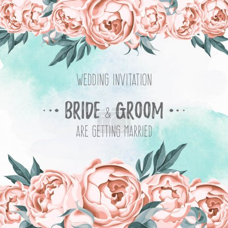 Illustration for Vector wedding invitation decorated with pastel flowers - Royalty Free Image