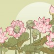 Vector illustration of thickets of blooming and wi...