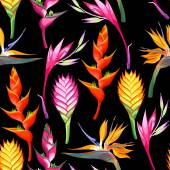 Exotic jungle flowers and leaves vector seamless background