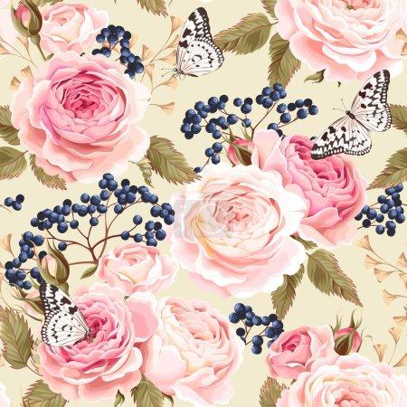 Illustration pour Vintage roses et baies vecteur fond sans couture - image libre de droit