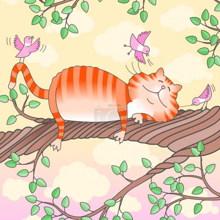 Illustration for Illustration of a funny cat sleeping on the tree made in Eps 10, with gradients and grouped - Royalty Free Image