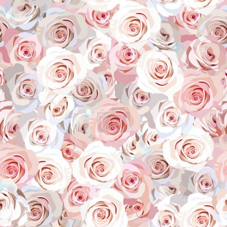 Illustration for Seamless backgroung with pink and white roses - Royalty Free Image