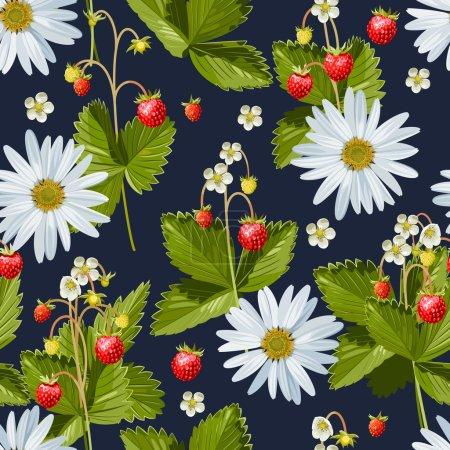 Illustration pour Camomille et fraise sauvage fond sans couture - image libre de droit