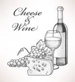 Hand drawn composition of wine grape and cheese