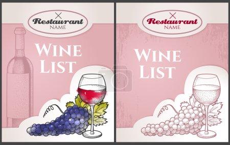 Illustration pour Carte des vins dessinée à la main avec raisins et vin - image libre de droit