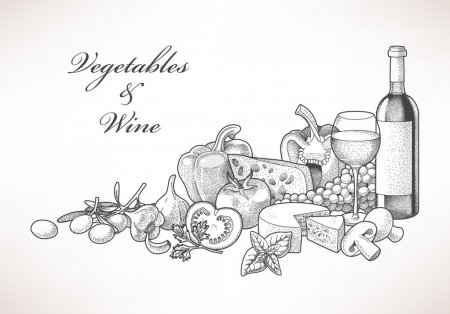 Illustration of hand drawn wine, cheese and vegeta...