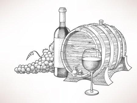 Illustration pour Illustration dessinée à la main du vin et du raisin - image libre de droit