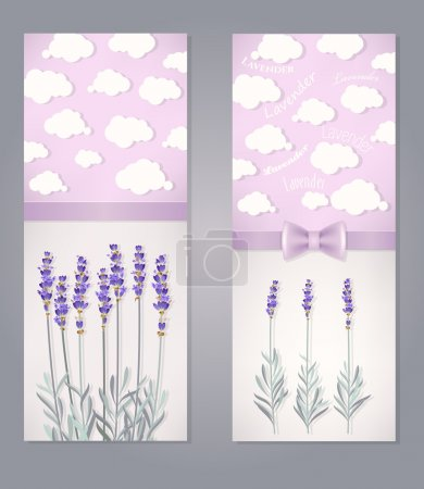 Illustration for Greeting card with lavender flowers and clouds - Royalty Free Image