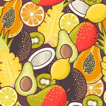 Illustration pour Décoratif coloré fruits exotiques motif de fond sans couture - image libre de droit