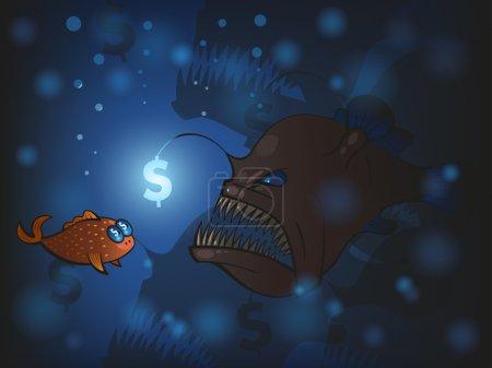 Illustration pour Illustration du poisson pêcheur et du petit poisson - image libre de droit
