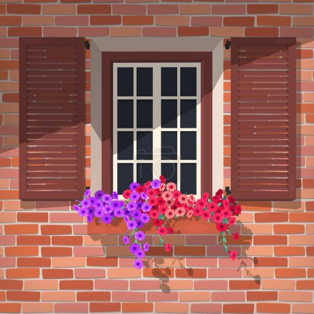 Illustration for Illustration of open window with colorful petunia - Royalty Free Image