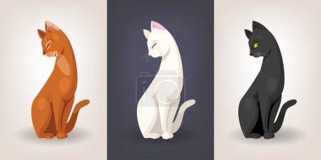 Illustration pour Jeu de trois chats gracieuses assis vectorielles - image libre de droit