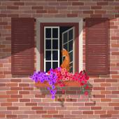 Illustration of open window with colorful petunia and the cat