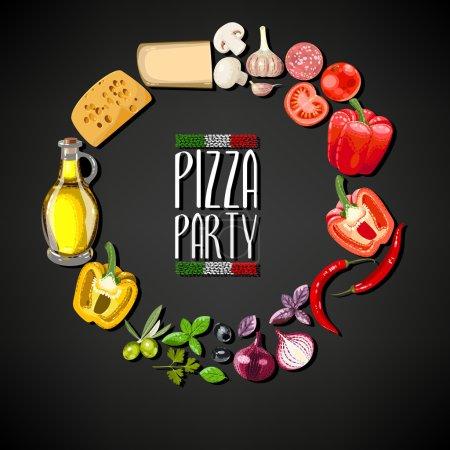 Illustration pour Pizza Party invitation avec des ingrédients pour la pizza - image libre de droit