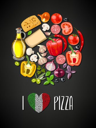 Illustration for Colorful circle made of ingredients for pizza - Royalty Free Image