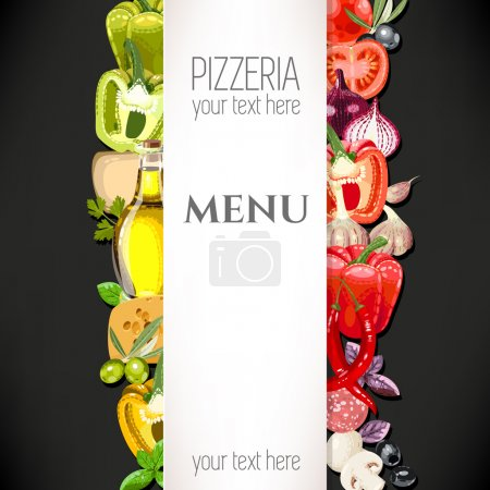 Illustration for Vector menu for pizzeria with ingredients for pizza - Royalty Free Image