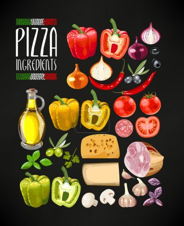 Illustration for Vector set of different ingredients for pizza - Royalty Free Image
