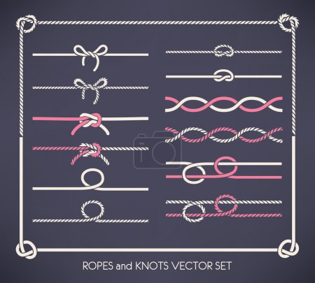 Illustration for Set of different vector ropes and knots - Royalty Free Image