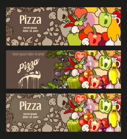 Illustration for Vector flyer decorated with ingredients for pizza - Royalty Free Image