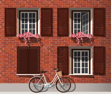 Illustration pour Illustration de maison en brique avec fleurs et vélo - image libre de droit