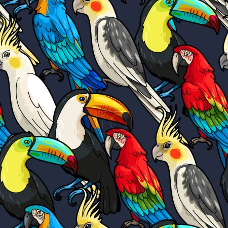 Illustration for Vector macaw, toucan and cockatoo seamless background - Royalty Free Image
