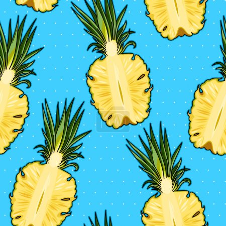 Illustration for Colorful pineapples and polka dot seamless vector background - Royalty Free Image