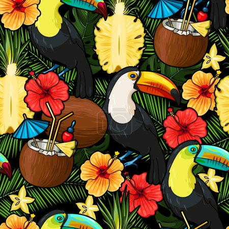 Toucan and tropical cocktail seamless