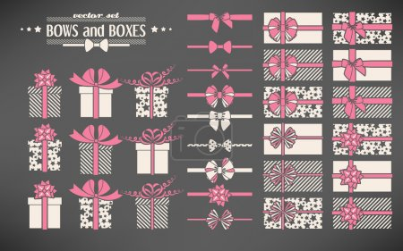 Illustration for Vector set of simple bows and gift boxes - Royalty Free Image