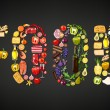 Word food composed of different food items and dri...