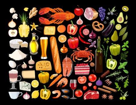 Illustration pour Grand ensemble vectoriel de différents types d'aliments - image libre de droit