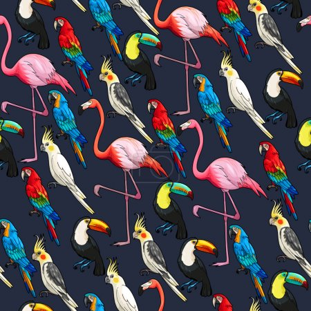 Illustration for Colorful exotic birds on dark background vector seamless pattern - Royalty Free Image