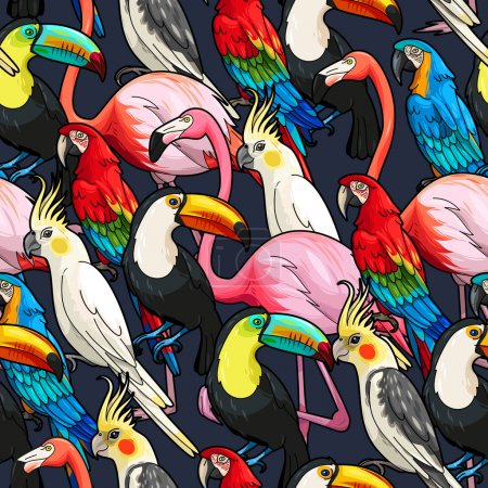 Seamless exotic birds